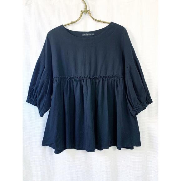 Black cotton babydoll ruffle top